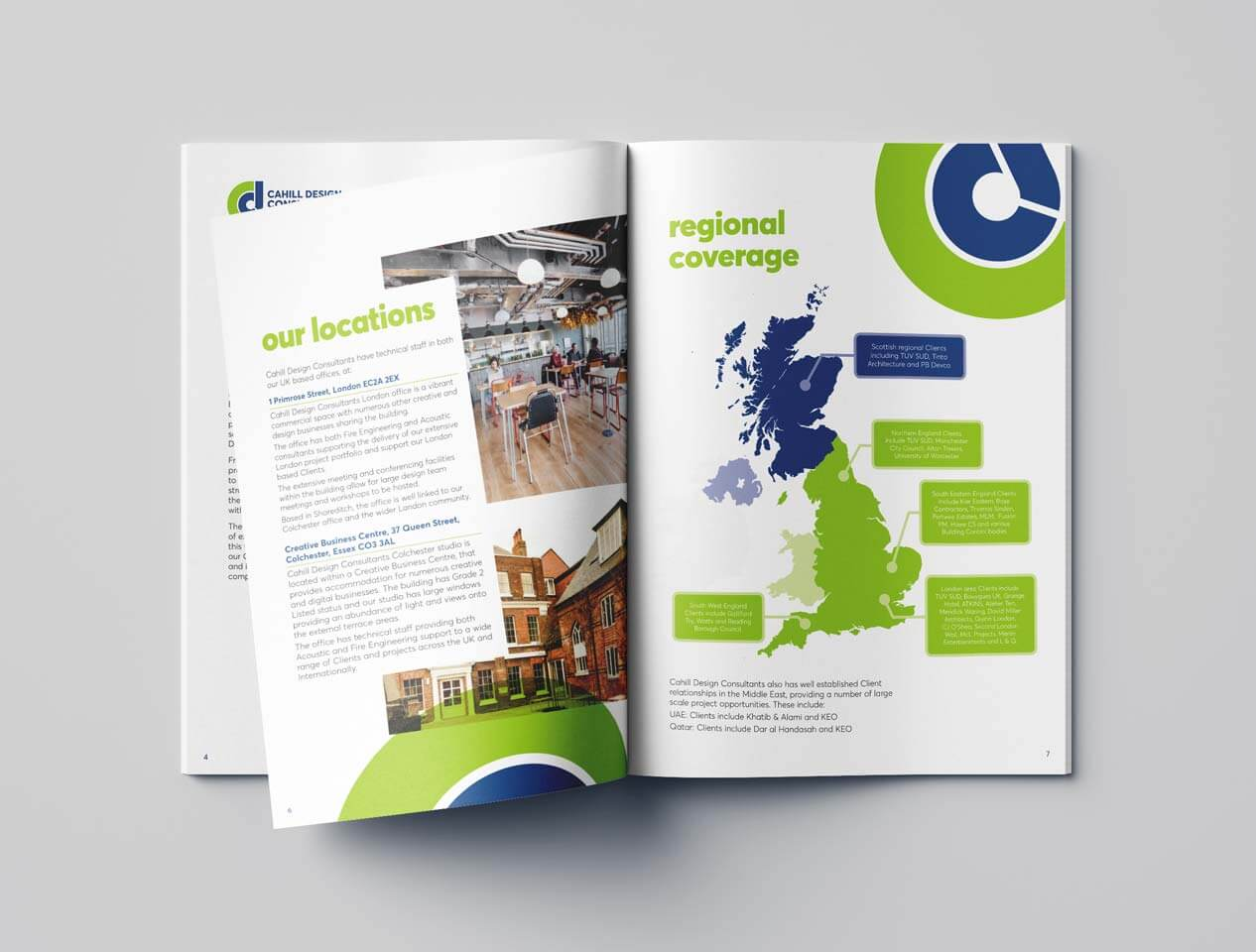 Image showing brochure visual of a company report document with photos, graphics and illustrated map