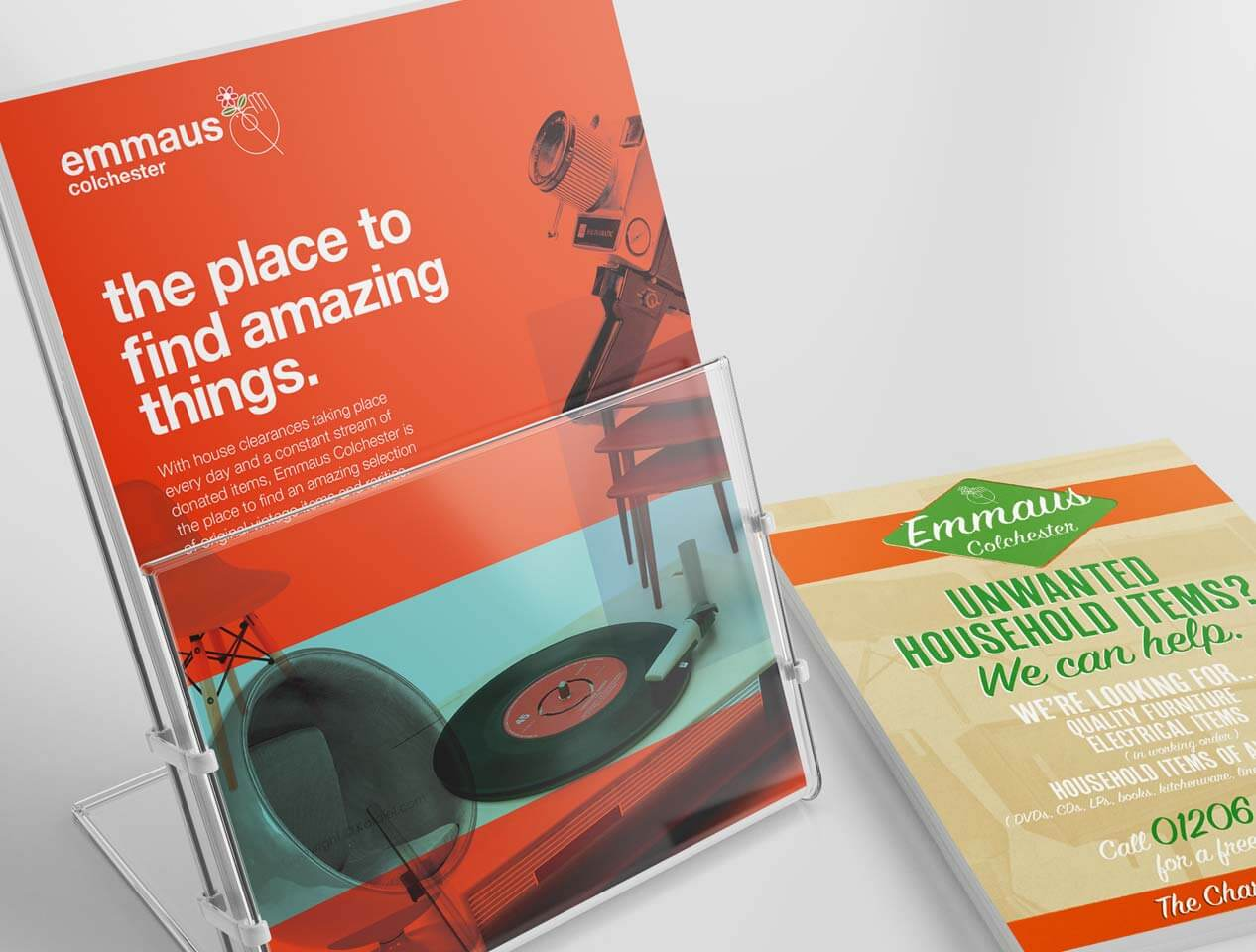 Image showing 2 different designs of leaflets for the Emmaus homeless charity