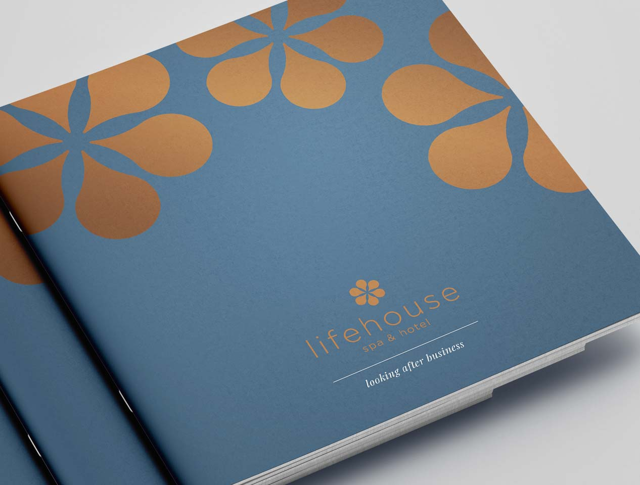 Image showing the metallic printing effects on the cover of a Lifehouse Spa and Hotel brochure