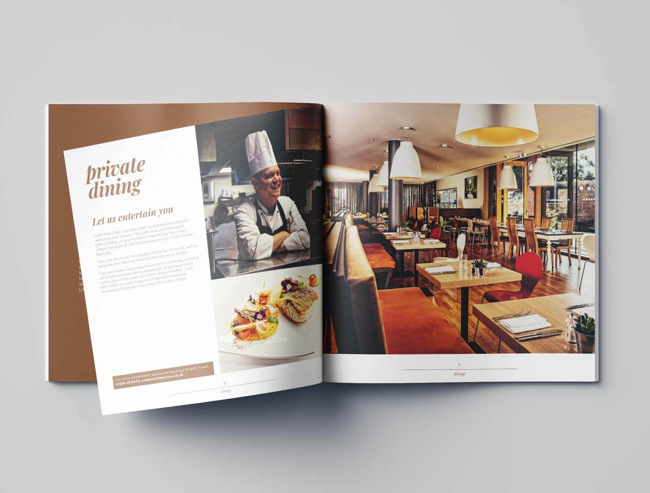 Image showing the internal pages of the Lifehouse Spa and Hotel brochure with images and text
