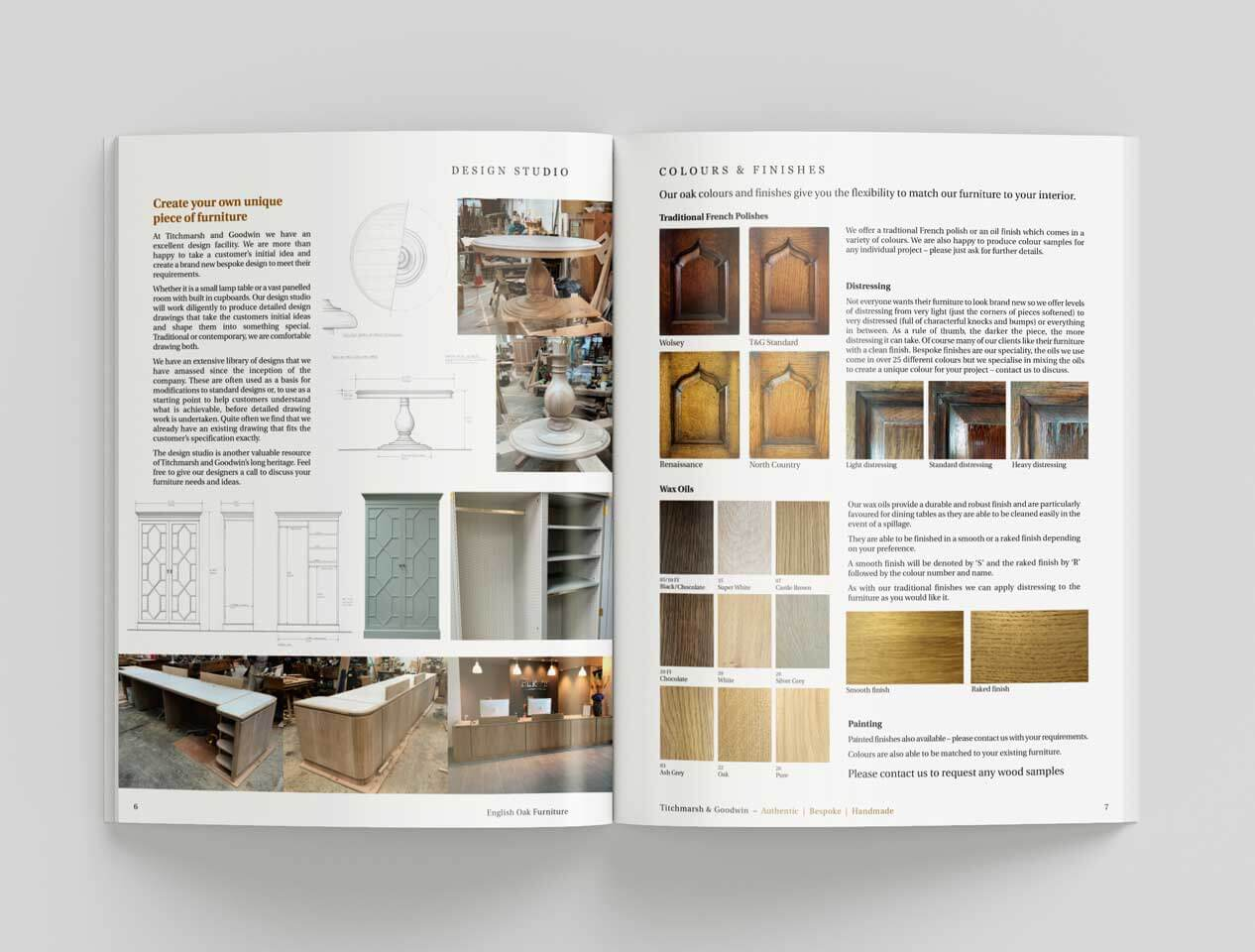 Image showing another internal page for the Titchmarsh and Goodwin furniture catalogue with wood samples