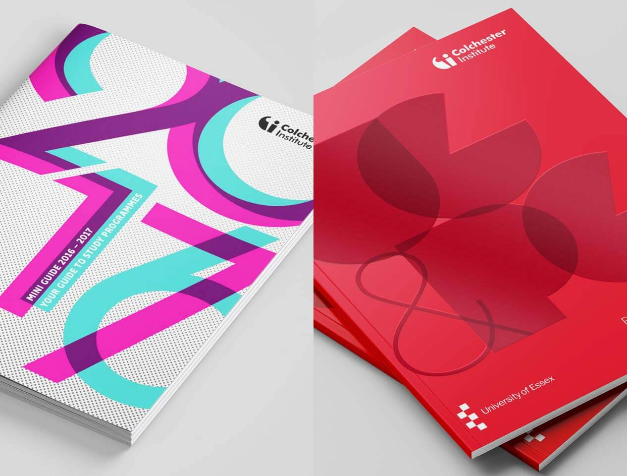 Image showing two different cover designs for the Colchester Institute prospectus