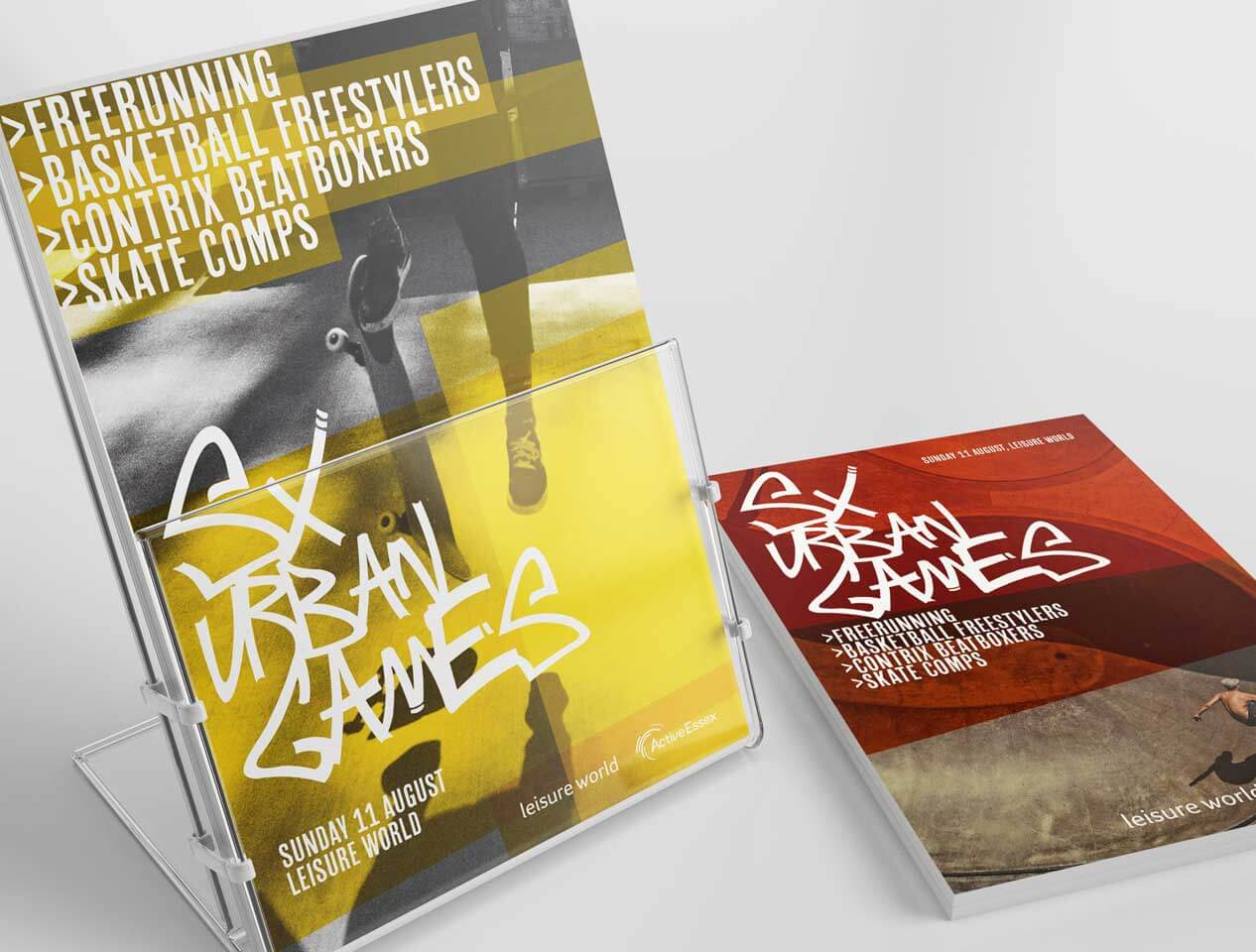 Image showing two leaflet designs showing images of skateboarding and graffiti text