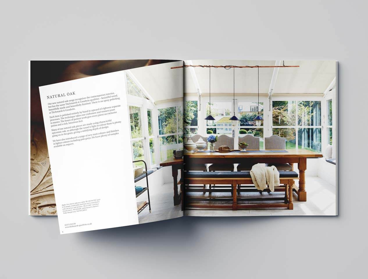 Image showing the internal page design of the Titchmaesh and Goodwin marketing brochure