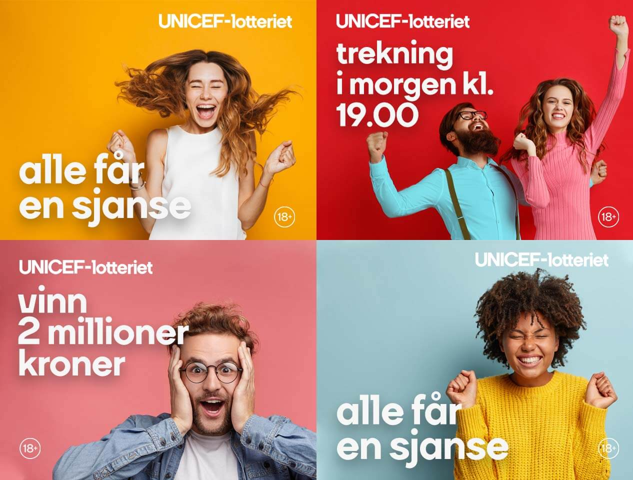 Image showing four types of social media advert used for UNICEF-lotteriet